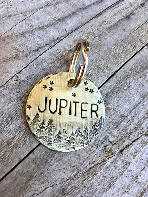 """Starry Forest Tag in Brass - Jupiter - in 1.25"""" Weathered Brass"""