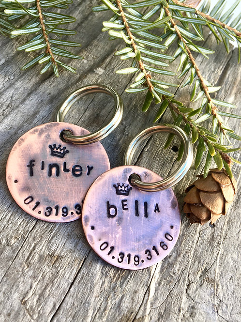 """Marlo Pet Tag, in 1"""" Weathered Copper"""