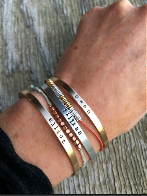 Skinny Stacking Cuff Bracelet- Great for New Moms