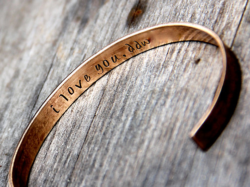 Custom Stamped Cuff Bracelet with Secret Message