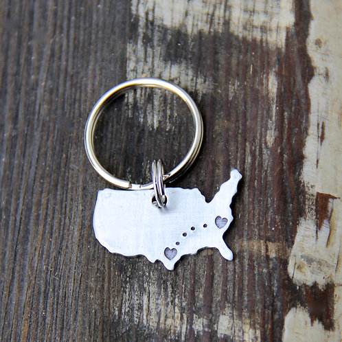 Custom Long Distance Love Keychain - In Aluminum