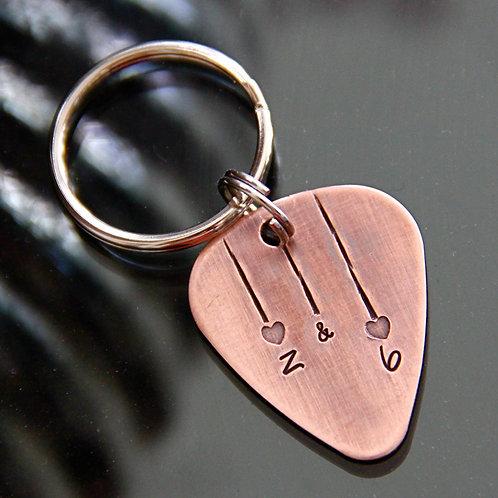 Custom Heartstrings Guitar Pick Keychain