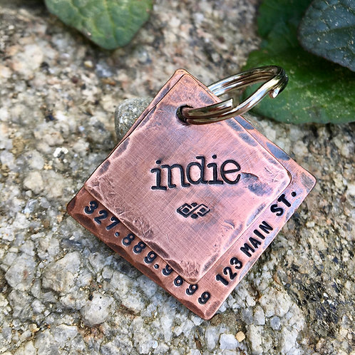 Indie - Custom Dog Tag - Hand Stamped Layered Square Copper Dog Tag