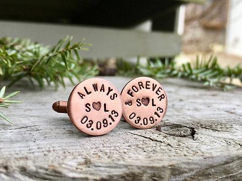 Custom Cufflinks in Copper / Groomsman Gifts