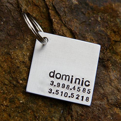 Custom Pet ID Tag - Dominic - in 1.25'' Square Bru