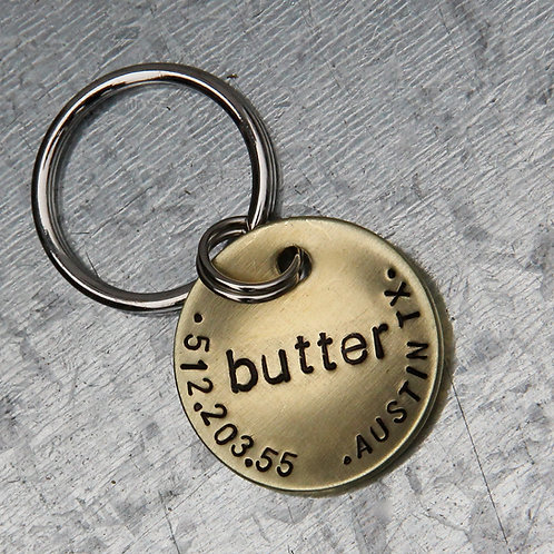 "Butter - Brushed Brass 1"" Dog/Cat tag"