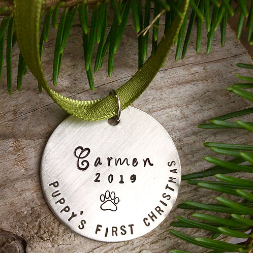 Puppy's First Christmas Ornament - 1.5'' Brushed Nickel