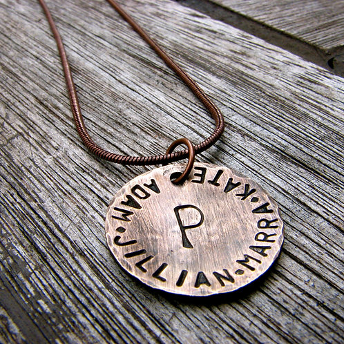 Necklace - A Rustic Family -  in 3/4'' Bronze