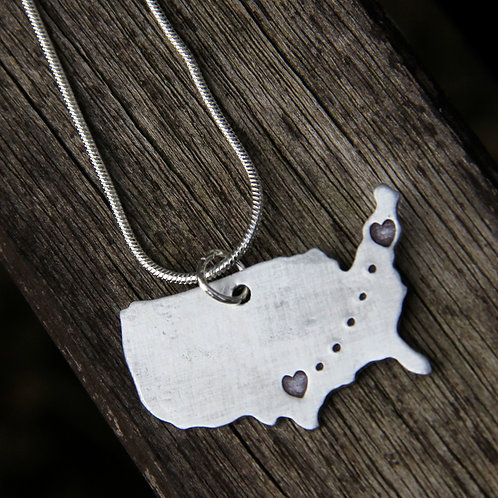 Custom Long Distance Love Pendant - In Aluminum