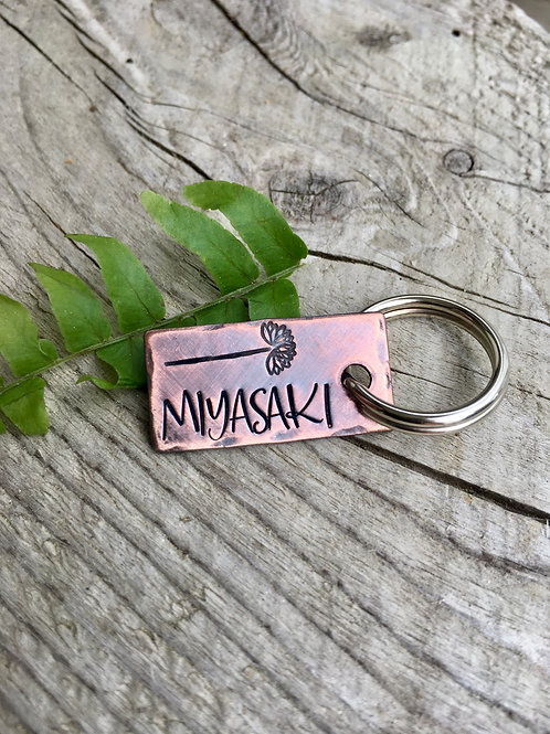 Custom Floral Pet ID Tag - Piper - in Weathered Copper