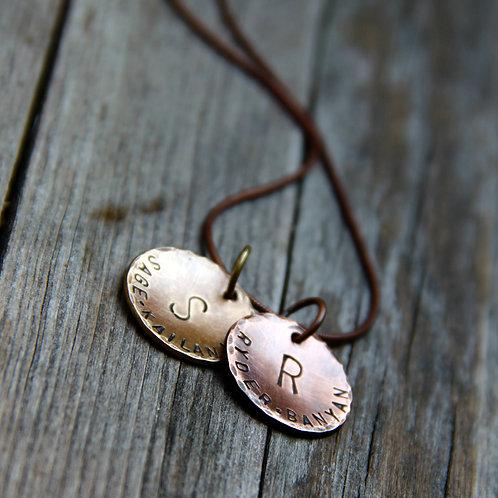 Pendants in Copper & Bronze - A Twin Rustic Duo