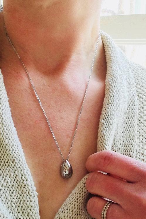 Silver Teardrop Urn Necklace - Memorial Jewelry
