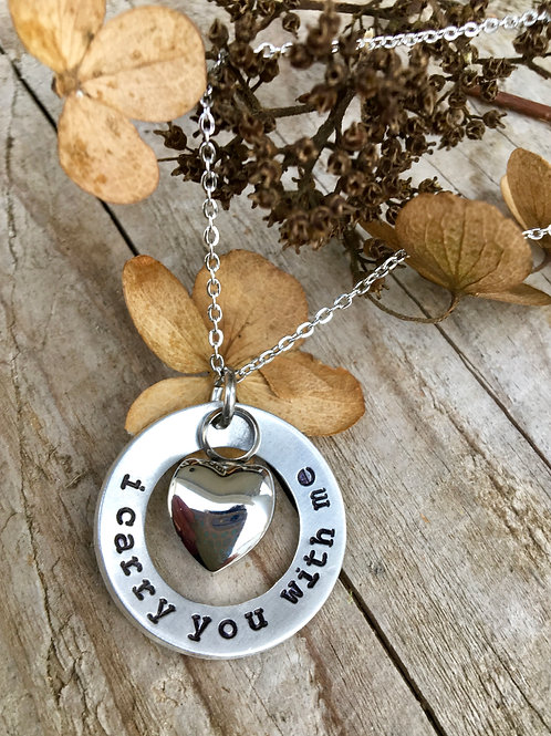 I Carry You With Me - Memorial Urn Necklace, Pet Loss Jewelry, Simple Heart Urn