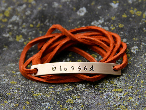 Custom Wrap Bracelet in Leather and Bronze