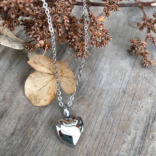 Silver Dainty Heart Urn Necklace - Memorial Jewelry