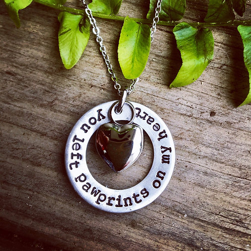 You Left Pawprints on My Heart - Memorial Urn Necklace