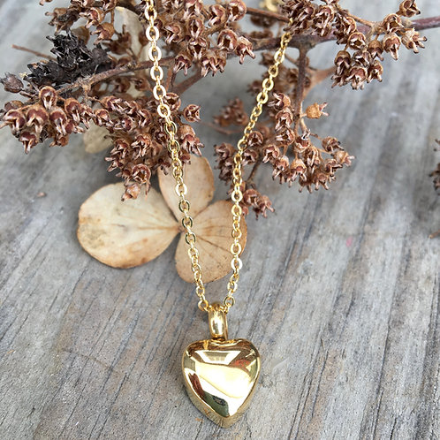 Gold Dainty Heart Urn Necklace - Memorial Jewelry