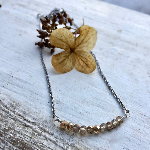 Delicate Champagne Crystal Necklace