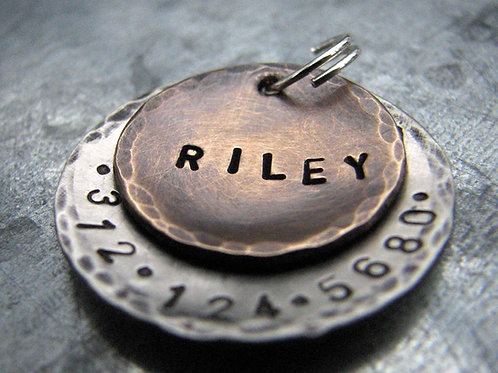 Riley Pet Tag in Bronze and Aluminum