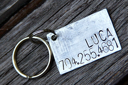 Custom Pet ID tag - Luca - in Weathered Aluminum