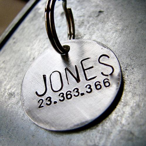 """Jones 1"""" Tag in Aluminum or Bronze"""