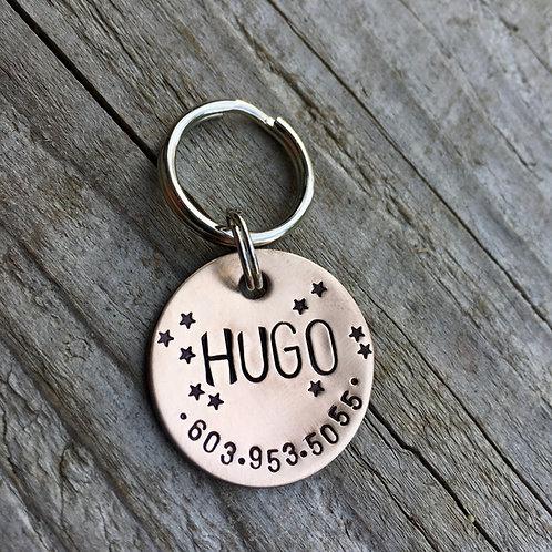 """Starry Brushed Bronze 1"""" Tag - Hugo"""