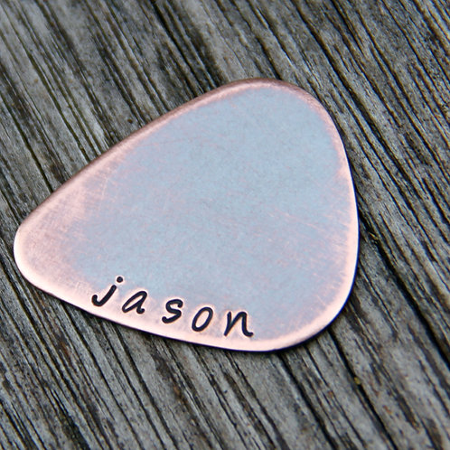 Custom Name Guitar Pick in Copper
