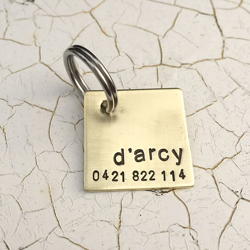 Square Pet ID Tag  in 1'' Brushed Brass