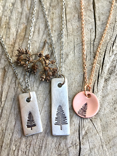 Simple Pine Tree Necklace in Pewter or Copper