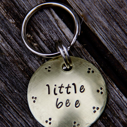 "Little Bee - Brushed Brass 1"" Pet tag"