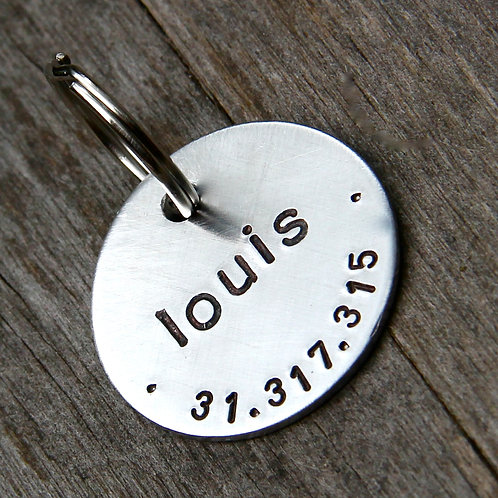 """Custom Pet Tag, Louis, in 1"""" Brushed Aluminum"""
