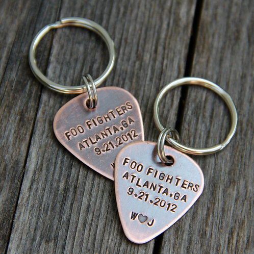 Concert Date Guitar Pick Keychain in Copper