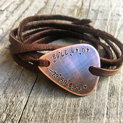 Guitar Pick Wrap Bracelet in Copper and Leather