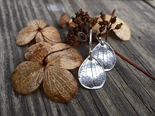 Hydrangea Petal Earrings in Sterling Silver