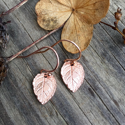 Dainty Leaf Earrings in Rose Gold