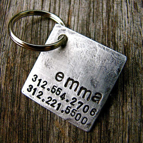 "1"" Square Tag - Emma - Aluminum, Copper or Bronze"