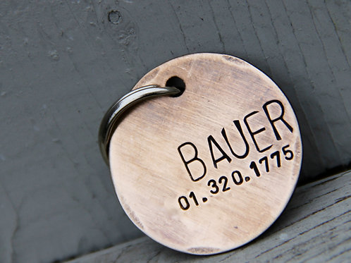 Custom Pet ID Tag - Bauer - Brushed 1.25'' Bronze
