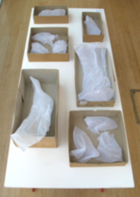 white tissue paper sculpture body parts imprints in archive boxes on a table large scale drawing bird on wall blood
