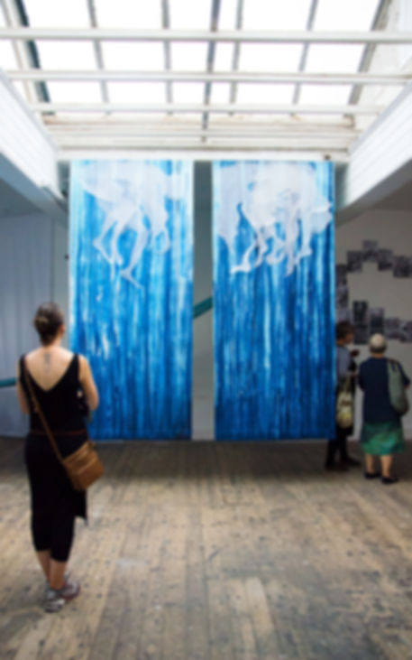 gavin conwill photography mermaid large drawing scale drawing on wall blue deep sea ink fabric installation Luce Irigaray imperialism colonialism patriarchy feminine masculine Jules Verne sound piece graffiti tracing paper Pangaea