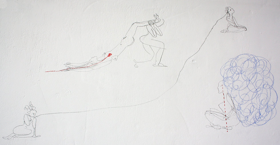 mermaid large drawing scale drawing on wall blue deep sea ink fabric installation Luce Irigaray imperialism colonialism patriarchy feminine masculine Jules Verne sound piece graffiti tracing paper Pangaea
