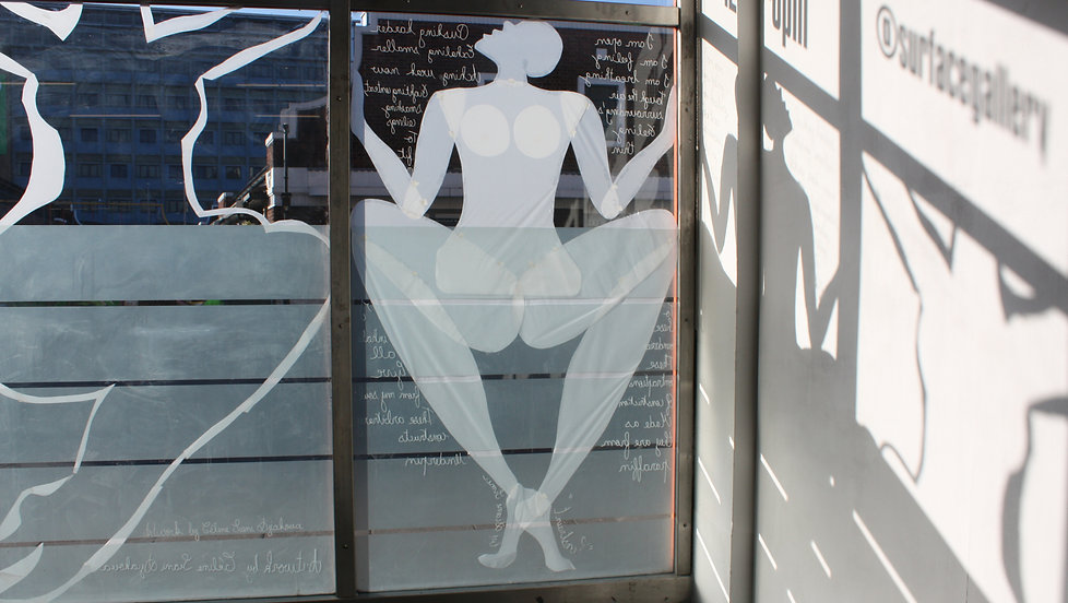poetry collaboration window installation collage tracing paper white transparent feminism woman body sexuality