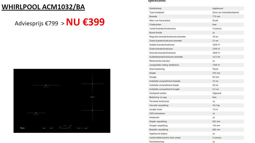 Inductie Kookplaat | Whirlpool | ACM1032/BA