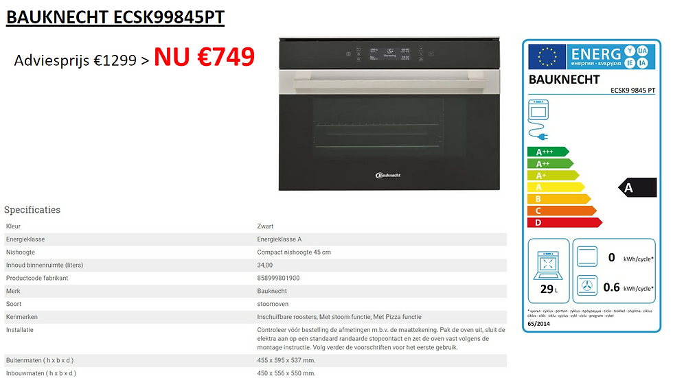 Stoomoven | BAUKNECHT | ECSK99845PT | DSM Beveren-Leie