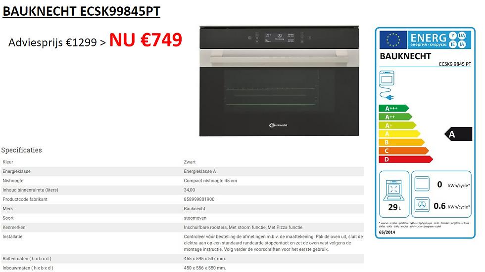 Stoomoven   BAUKNECHT   ECSK99845PT