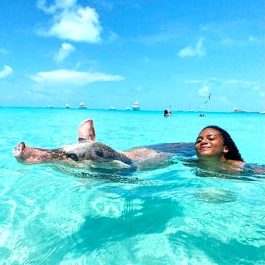 Girl swimming with pig