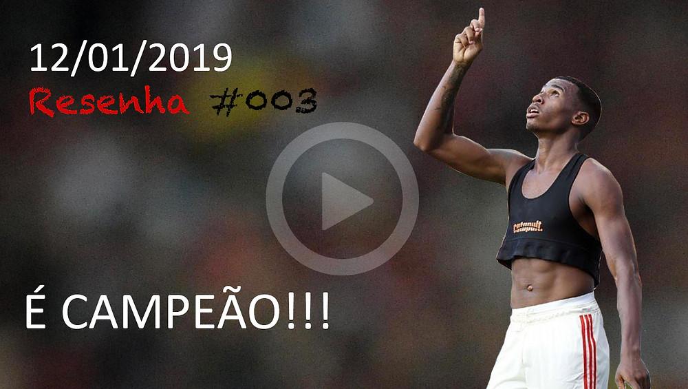 imagem da capa, com titulo de é campeão e jean lucas comemorando o gol da vitoria
