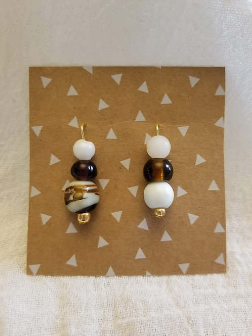 Sea Glass and Gold Beaded Earrings
