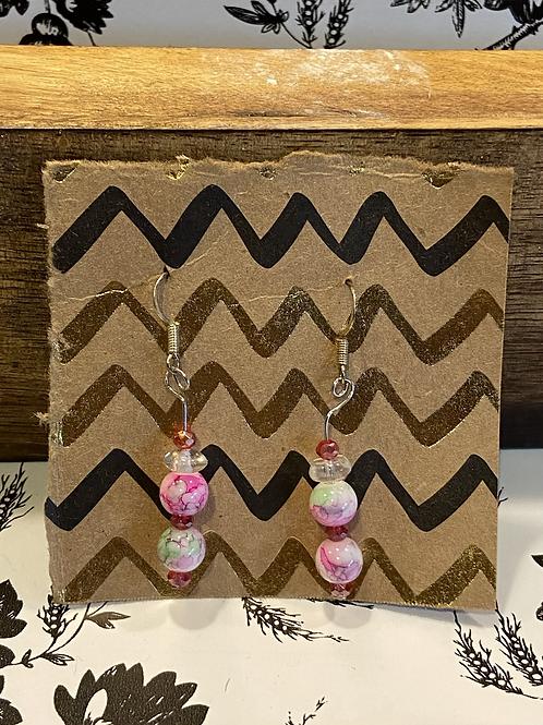 Pink Seaglass Earrings