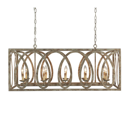 Palma Linear Chandelier with washed white Finish