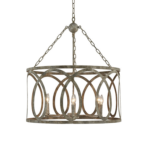 Palma Small Round Chandelier with Washed Gray Finish